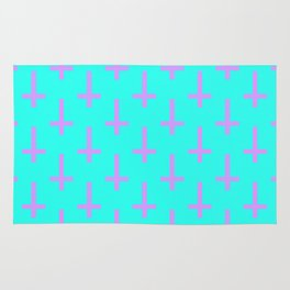 Purple and Blue Inverted Cross Pattern Rug