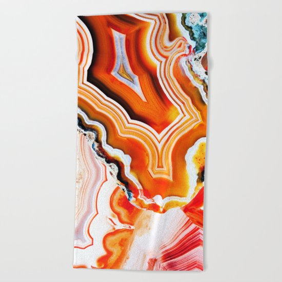 The Vivid Imagination of Nature, Layers of Agate Beach Towel