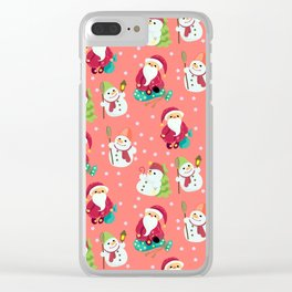 Pink Winter Forest with Cute Snowmen and Santas Clear iPhone Case