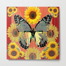 ABSTRACT  GREY BUTTERFLY  GARDEN SUNFLOWERS Metal Print