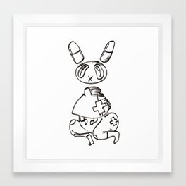 pill bunny nurse Framed Art Print