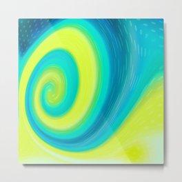 Abstract , yellow , green , wave Metal Print