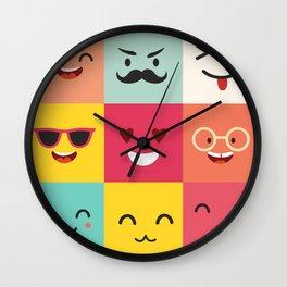 Emoticons vector pattern. Emoji square icons Wall Clock