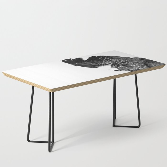 Black and White Cockatoo Illustration Coffee Table