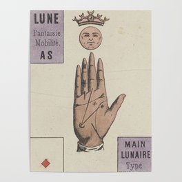 Vintage French Moon Tarot Card Poster