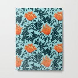 William Morris Anemone, Indigo Blue and Coral Metal Print