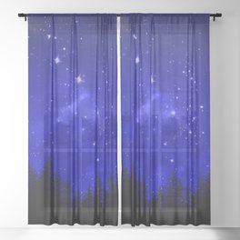 Blue Galaxy Forest Night Sky Sheer Curtain