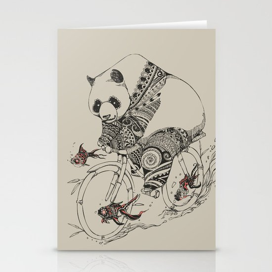 Panda and Follow Fish Stationery Cards