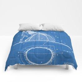 Firemans Helmet Patent - Fireman Art - Blueprint Comforters