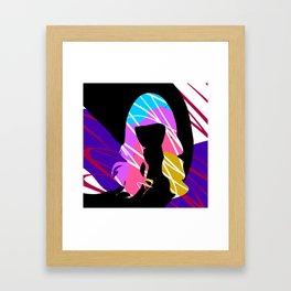 Colourful Hair Girl Abstract Art Framed Art Print