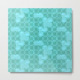 Blue-green Ornamental Print Metal Print