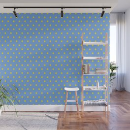 Abstract Floral of Little Yellow Gerberas on Baby Blue Wall Mural