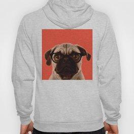 Geek Pug in Red Background Hoody