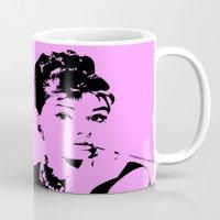 audrey hepburn Mugs featuring Audrey Hepburn by Walter Eckland