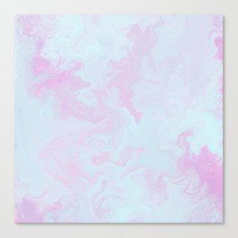 Elegant pink teal watercolor abstract marble Canvas Print
