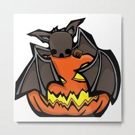 Bat and Jack O'Lantern   Halloween Series   DopeyArt Metal Print