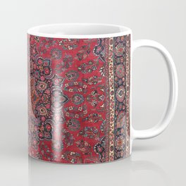 Old Century Persia Authentic Colorful Purple Blue Red Star Blooms Vintage Rug Pattern Coffee Mug