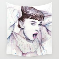 hepburn Wall Tapestries featuring Audrey Hepburn Watercolor by Olechka