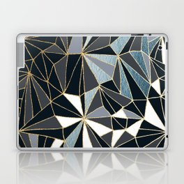 Stylish Art Deco Geometric Pattern - Black, blue, Gold #abstract #pattern Laptop & iPad Skin