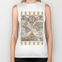 Vintage Map with Stars Biker Tank