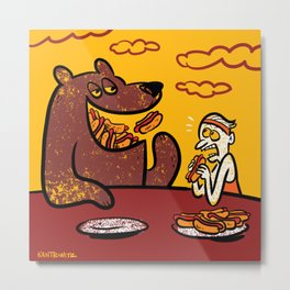 A Bear Easily Wins A Hot Dog Eating Contest Metal Print