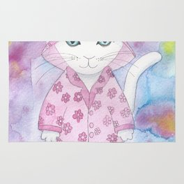 Cat in Pink Pyjamas Rug