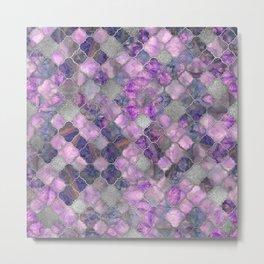Quatrefoil Moroccan Pattern Lilac Fluorite and Silver Metal Print