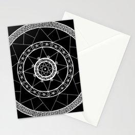 Zen Star Mandala - Black White - Square Stationery Cards