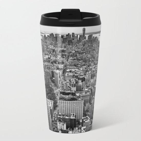 New York City black & white Metal Travel Mug