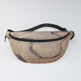 Aerial view, the land structure with road, river and field. Fanny Pack