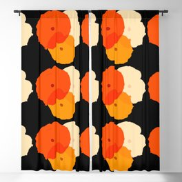 Retro Poppies orange yellow with black background Blackout Curtain