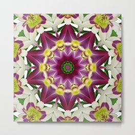 Daylily mandala 1, red-violet, cream and yellow Metal Print