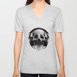Alien Skull Listening to Music on Pro Beats Unisex V-Neck