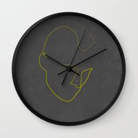 taxi driver Wall Clocks featuring One Line Taxi Driver by quibe