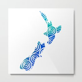 New Zealand North and South Island Koru pattern in indonesian batik style Metal Print