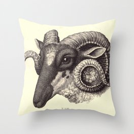 Ram's Head Throw Pillow