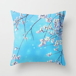 Catkins hanging from a tree Throw Pillow