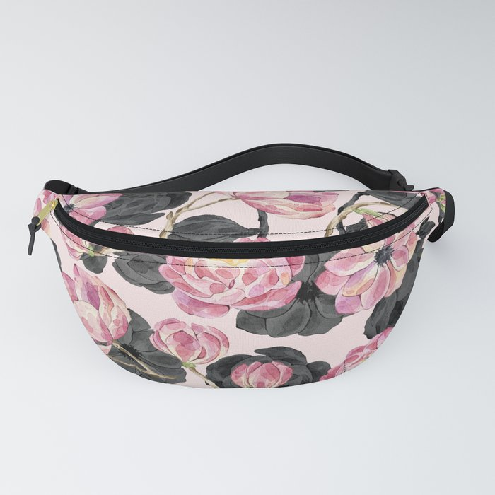 Girly Blush Pink and Black Watercolor Flowers Fanny Pack