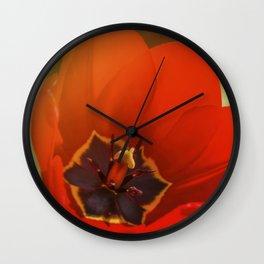 red tulip blossom Wall Clock