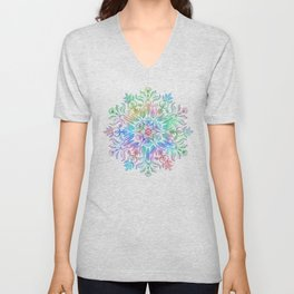 Nature Mandala in Rainbow Hues Unisex V-Neck