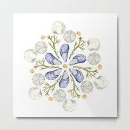 Tide Pool Beach Mandala 2 - Watercolor Metal Print