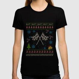Drag Racing Christmas Ugly Shirt Checkered Flag Shirt T-shirt
