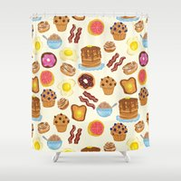 breakfast Shower Curtains featuring Breakfast by Julia Emiliani