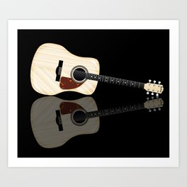 Pale Acoustic Guitar Reflection Art Print