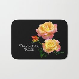 Daybreak roses on black Bath Mat