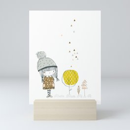 Cute whimsical girl Mini Art Print