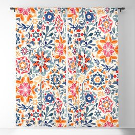 Watercolor Kaleidoscope Floral - desaturated Blackout Curtain