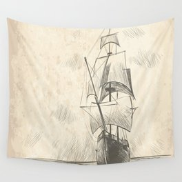 Vintage hand drawn galleon background Wall Tapestry