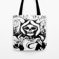 grim fandango Tote Bags featuring Grim by Emalee Røse