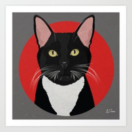 Tuxedo Cat Art Poster by Artist A.Ramos. Designed in Bold Colors. Perfect for Pet Lovers Art Print